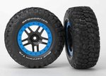 Traxxas TRX-5883A Tire & wheel assy, glued (SCT Split-Spoke, black, blue beadlock wheels, BFGoodrich