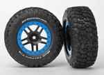 Traxxas TRX-5885A Tire & wheel assy, glued (SCT Split-Spoke, black, blue beadlock wheels,  BFGoodric